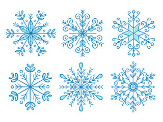Hand drawn snowflake collection. Vector illustration, isolated on white background. Set 1 of 2.