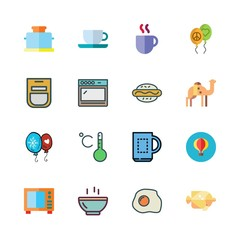 hot icon set. vector set about hot dog, oven, coffee cup and beach icons set.