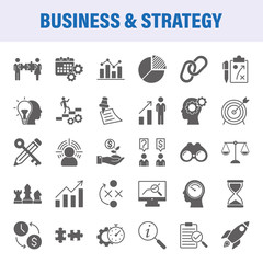 Business And Strategy Set Of Vector Icons