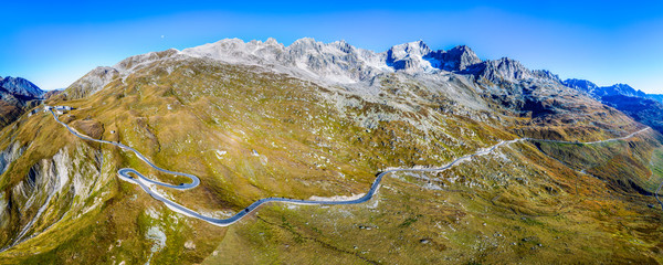 Luftaufnahme, Furkapass, Urserental, Kanton Uri, Schweiz
