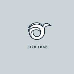 Bird silhouette logo. Vector abstract minimalistic illustration flying fowl. Pigeon icon. Zoo, pet shop, farm, bird feather, wild nature vector flat style logotype modern.