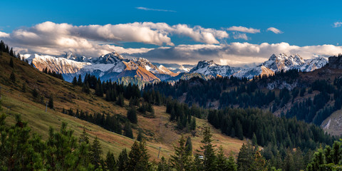 Riedbergpass, Hörnergruppe, Allgäuer Alpen, Oberallgäu, Bayern, Deutschland