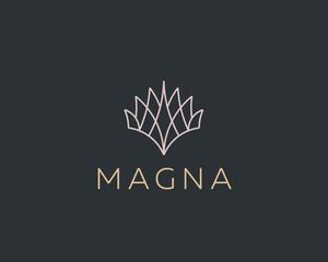 Abstract elegant line tree logo icon vector design. Gem flower vector logotype. Universal creative premium sign symbol.