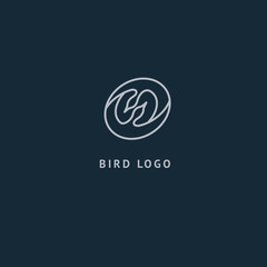 Bird silhouette logo. Vector abstract minimalistic illustration flying fowl. Swan icon. Zoo, pet shop, farm, bird feather, wild nature vector flat style logotype modern.