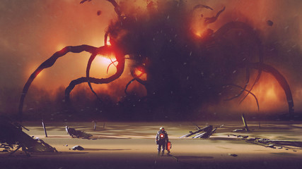 astronaut with a tech device heading to the giant monster at the horizon, digital art style, illustration painting Wall mural