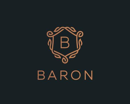 Premium linear shield monogram letter B logotype. Elegant crest leaf stamp icon vector logo. Luxury alphabet frame symbol.