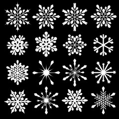 Snowflakes vector collection. Winter snow icons. New Year and Christmas decorations.