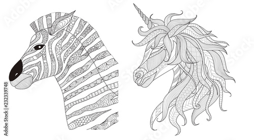 Zebra and unicorn zentangle stylize for print and coloring book for ...