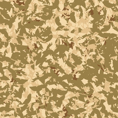 UFO military camouflage seamless pattern in different shades of beige, brown and green colors