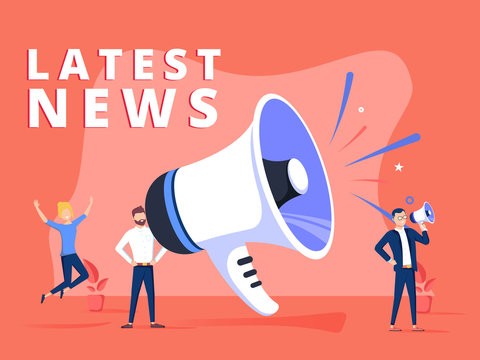 Latest news vector illustration concept, people shout on megaphone with Latest News word, can use for landing page