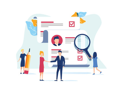 Human Resources, Recruitment Concept for web page, social media. Vector illustration people select a resume for a job