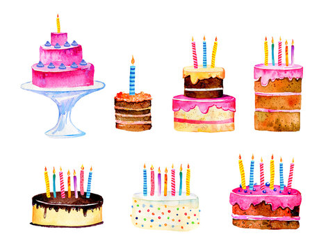Set of stylized birthday cakes with candles. Hand drawn cartoon watercolor sketch illustration