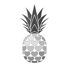 Pineapple with hearts. Tropical silver exotic fruit isolated white background. Symbol of organic food, summer, vitamin, healthy. Nature logo. Design element icon. Vector illustration