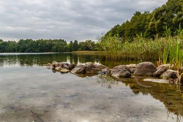 Brzeg jeziora Hańcza, najgłębsze jezioro w Polsce, Mazury, Podlasie