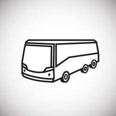 Tour bus thin line on white background icon
