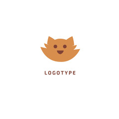 Fotobehang Illustraties Cat silhouette logo. Vector abstract minimalistic illustration veterinary. Kitten icon. Pet, pet shop, zoo, clinic vector flat style logotype modern.