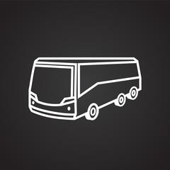 Tour bus thin line on black background icon