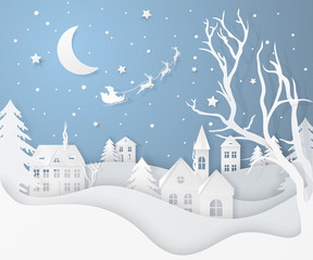 Photo sur Aluminium Bleu ciel Vector winter night landscape with fir trees, houses, moon, santa's sleigh, stars, deers and snow in paper cut style. Festive layered background with 3D realistic paper Christmas Village and snowfall.