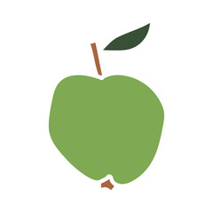 Green cartoon apple isolated on a white background. Vector illustration.