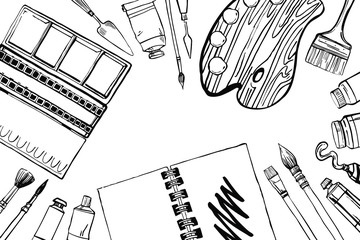 Sketch vector artist materials - top view. Black and white stylized illustration with painting and drawing tools. Paint box, palette, brushes, tubes isolated on white background