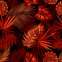 Tropical jungle red palm leaves seamless pattern, vector floral background