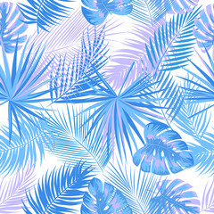 Tropical jungle blue palm leaves seamless pattern, vector floral background