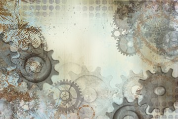 industrial abstract steampunk gears on grunge effect background, cogs wheels and clock parts