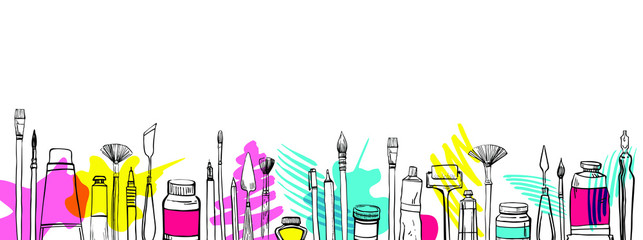 Vector artist materials in row. Hand drawn stylized sketch.  Black and white stylized illustration with color stains. Painting and drawing tools. Brushes, tubes, pens, knives