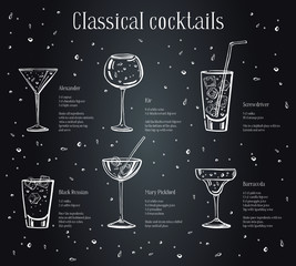 Classic cocktails recipe text description with ingredients. Vector sketch outline hand drawn illustration on blackboard background
