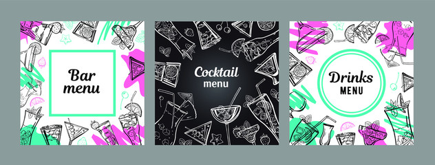 Set of cocktail menu cover design templates. Vector outline hand drawn illustration with different cocktails and fruits with color spots and blackboard