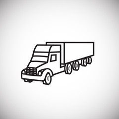 Cargo truck thin line on white background icon