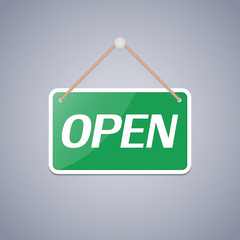Business sign Open for design. Vector illustration