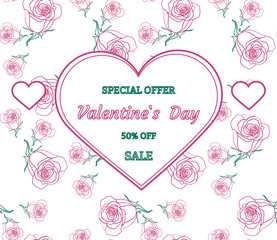 Pink and green design frame with roses. Valentine`s day sale background, special offer with heart. Wallpaper, flyer, invitation card, poster, brochure, banner. Vector illustration.