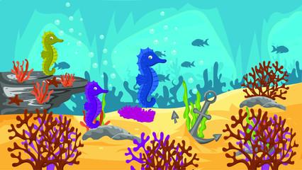 Underwater scene with sea horses