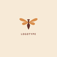 Fly silhouette logo. Vector abstract minimalistic illustration wasp. Bumblebee icon. honey, beekeeping, insect vector flat style logotype modern.