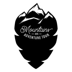 Monochrome vector template with stylized inscription, mountains. Editable for design