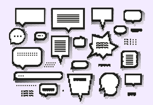 Empty white 8 bit speech bubbles set
