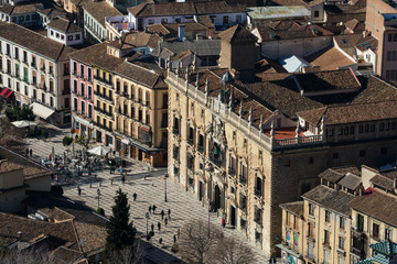 View of Granada city from the Alhambra Watch Tower (Torre de la Vela). Granada, Spain