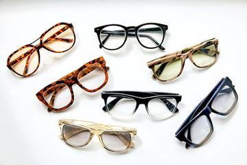 7, seven fashion sunglasses isoleted on white background