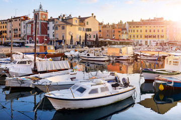 Rovinj, Croatia. Motorboats and boats on water in port