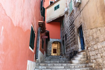 Croatia, Rovinj, August 2018: Adriatic, streets of a small seaside town, sunny hot summer day, old...