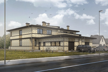 community house 3d visualization residential house