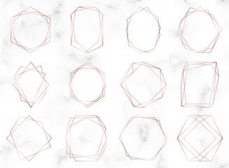 Rose gold geometric polygonal frames. Decorative lines borders. Luxury design elements for wedding invitation, blog posts, banner, celebration, card, save the date, poster, flyer