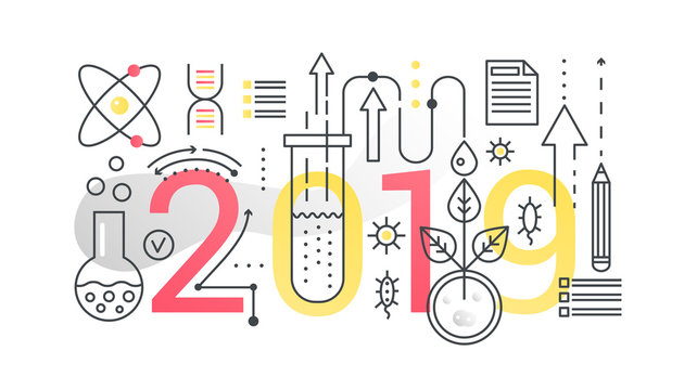 Science 2019 word trendy composition concept banner. Outline stroke technology, engineering, physics, modern education. Flat line icons lettering typography on white background.