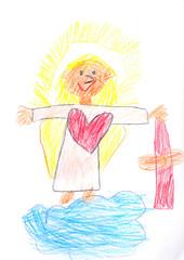 Das Christkind aus dem Himmel bringt Geschenke auf die Erde