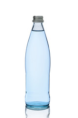 glass bottle with transparent soft drink or water on a white background