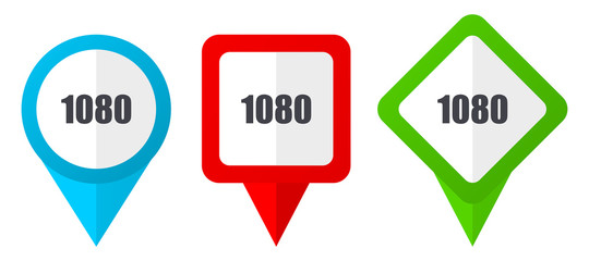 1080 sign red, blue and green vector pointers icons. Set of colorful location markers isolated on white background easy to edit