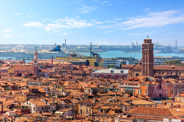 Port of Venice and city roofs from the Campanile of Basilica San Marco