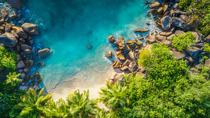 Wall Murals Green blue Tropical beach with sea and palm taken from drone. Seychelles famous shark beach - aerial photo
