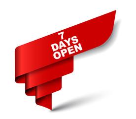 red vector banner seven days open